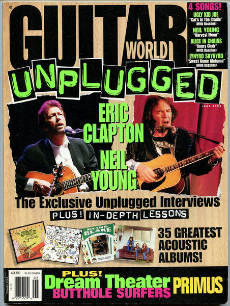 ERIC CLAPTON Neil Young UNPLUGGED June 1993 Guitar World Magazine Petrucci