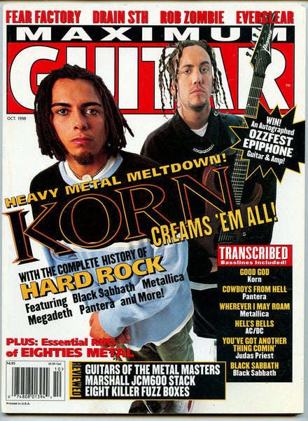 KORN AC/DC October 1998 Maximum Guitar Magazine Rob Zombie