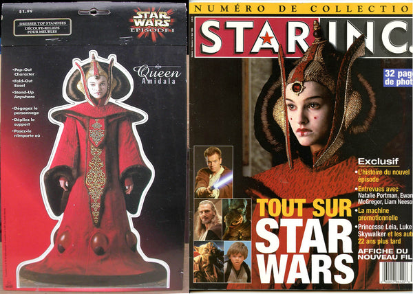 Natalie Portman NEW! Queen Amidala STANDEE MIB + 30 Star Wars French Clippings