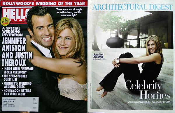 Jennifer Aniston lot 2 Magazines Hello Canada 462 + Architectural Digest