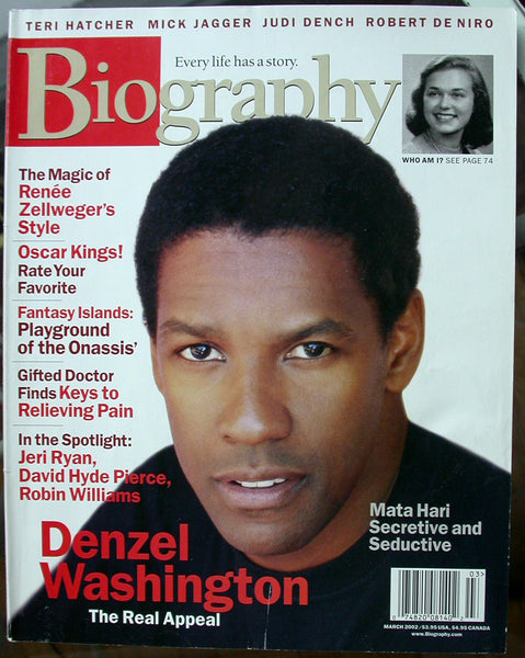 DENZEL WASHINGTON March 2002 A&E Biography Magazine Kanakaredes Renee Zellweger