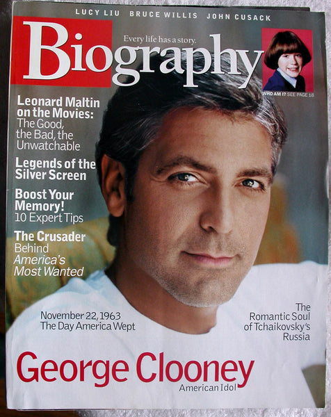 GEORGE CLOONEY November 2003 A&E Biography Magazine Lucy Liu John Cusack