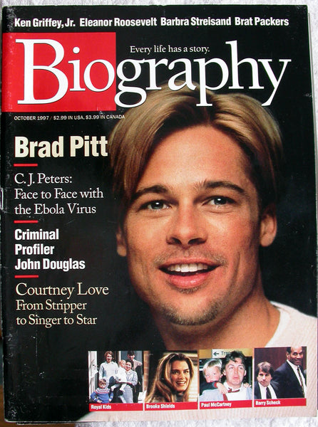 BRAD PITT October 1997 A&E Biography Magazine Courtney Love Brooke Shields