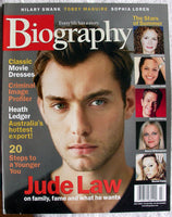 JUDE LAW July 2001 A&E Biography Magazine Heath Ledger Tobey Maguire Will Rogers Sophia Loren