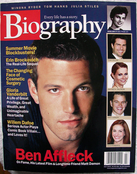 BEN AFFLECK April 2002 A&E Biography Magazine Julia Stiles Willem Dafoe