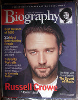 RUSSELL CROWE December 2003 A&E Biography Magazine Sound of Music Paul Simon