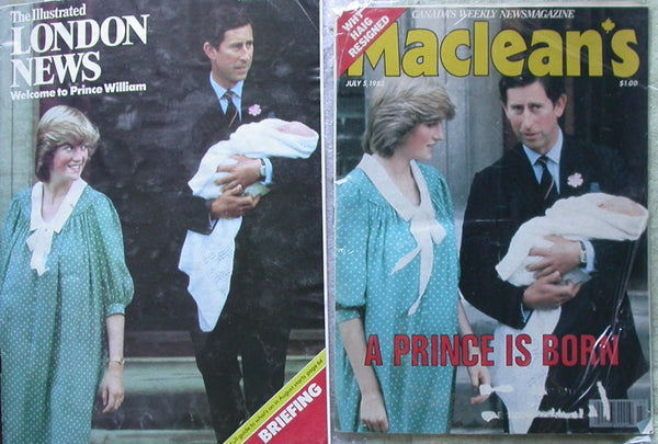 Princess Diana Prince William Lot 2:  1982 Maclean's Magazine + Illustrated London News