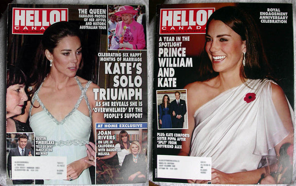 KATE MIDDLETON Lot 2 2011 HELLO Canada Magazine 238 + 240 Prince William Duchess of Cambridge
