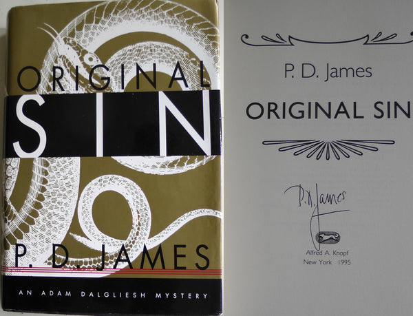 P.D. James SIGNED Original Sin cited First American Edition Autographed Mystery