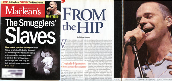 Tragically Hip Gord Downie 2000 Canadian Maclean's Magazine