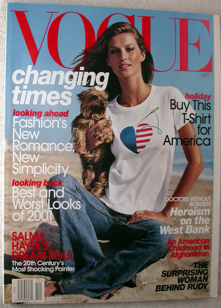 GISELE BUNDCHEN December 2001 Vogue Magazine SALMA HAYEK Frida Kahlo