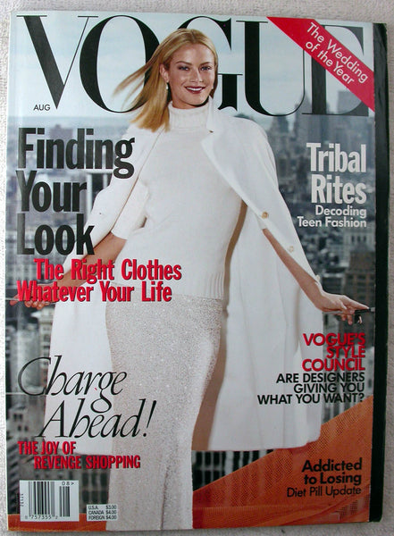 CAROLYN MURPHY Cover August 1998 VOGUE Magazine AMBER VALLETTA
