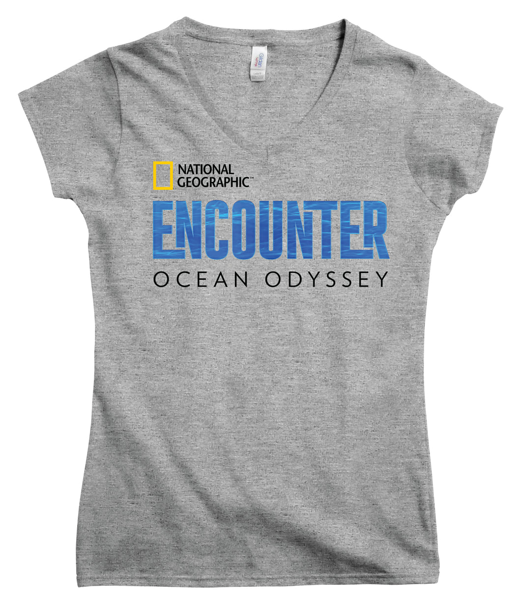 Ladies V-Neck National Geographic Encounter Logo T-Shirt