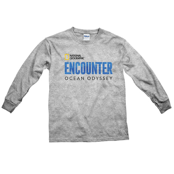 Youth National Geographic Encounter Logo Long Sleeve T-Shirt Gray