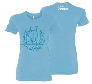 Ladies New York SkylineT-Shirt Ocean Blue