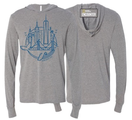 Hooded Long Sleeve New York Skyline Whale T-shirt Grey