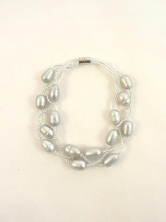 Silver Pearl Bracelet with Crystals