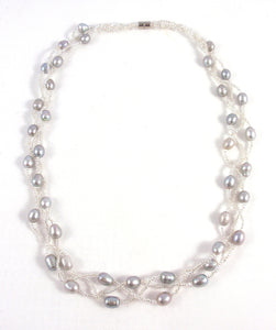 Silver Pearl Necklace with Crystals