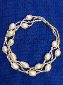 White Pearls Bracelet with Crystals