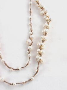 Silk Braided Taupe Pearl Necklace