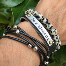 Be A Blessing Hand Stamped Black Leather Bracelet