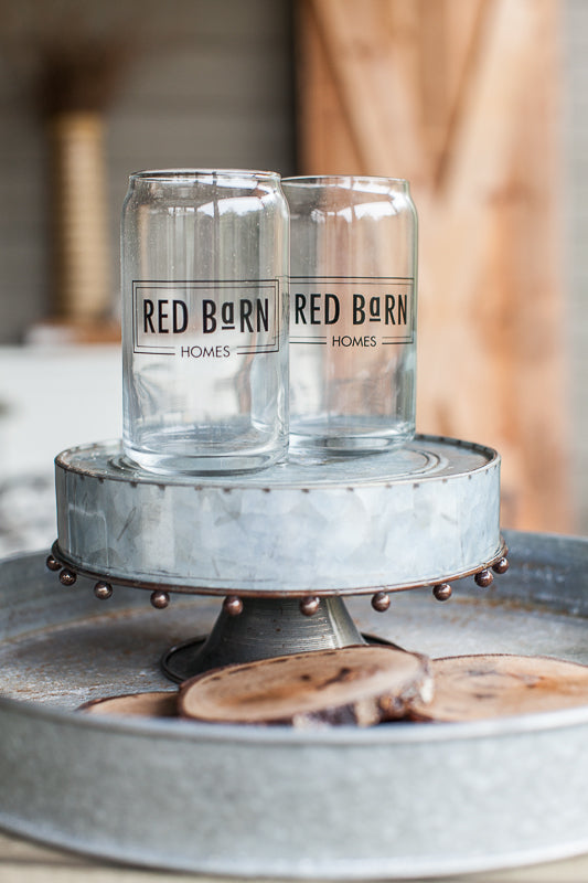Red Barn Soda Can Glass