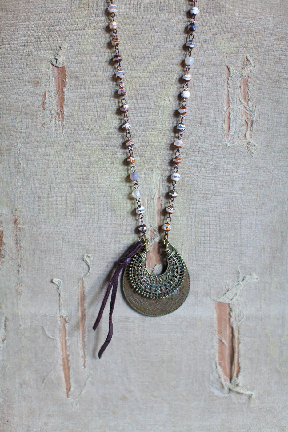 Leather and Beaded Necklace with Moon Shaped Charm