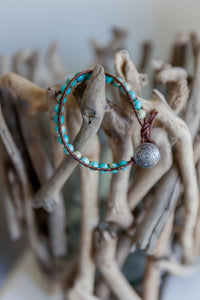 Threaded Turquoise Beaded Wrap Bracelet