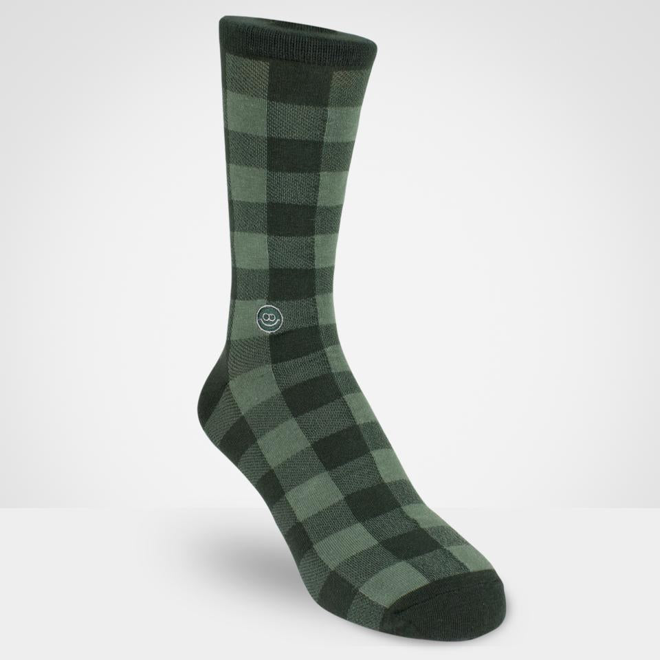Green Checkboard Crew Socks