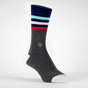 Crew Sock - Dark Grey W/ Stripes