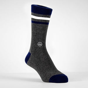 Crew Sock - Dark Grey & Navy W/ Stripes