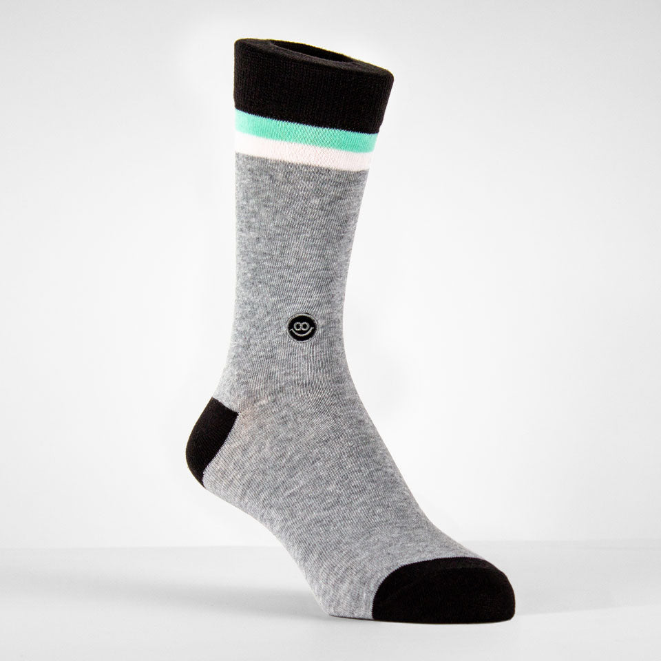Crew Sock - Mix Grey & Black W/ Stripes