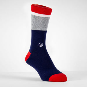 Navy & Red W/ Stripes Crew Socks