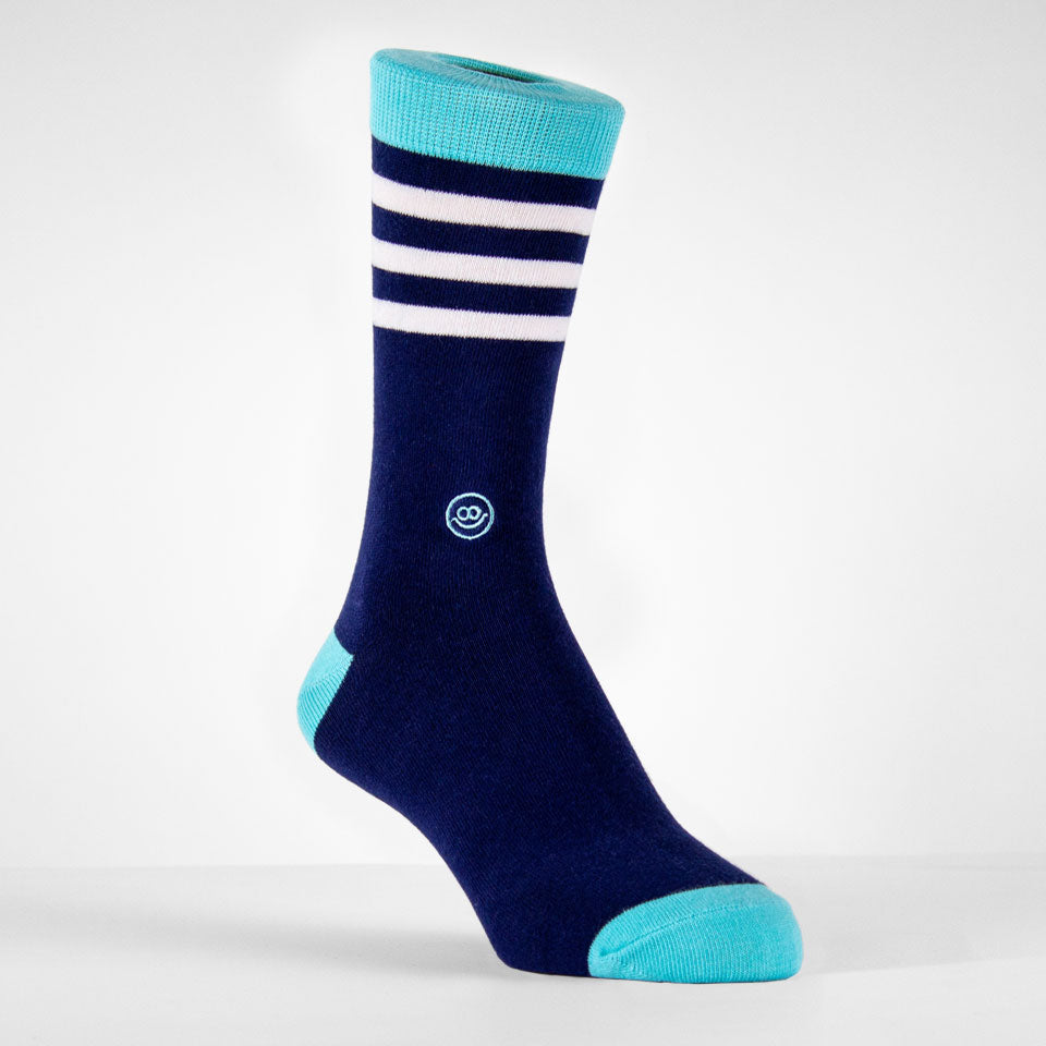 Crew Sock - Midnight Blue & Teal W/ Stripes