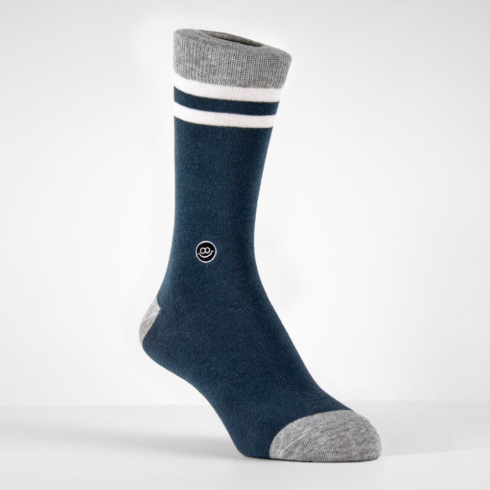 Crew Sock - Green & Mix Grey W/ Stripes
