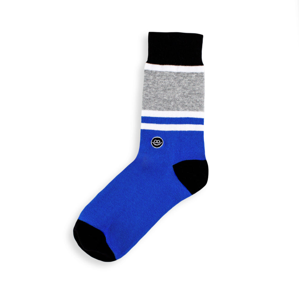 Crew Sock - Blue W/ Stripes