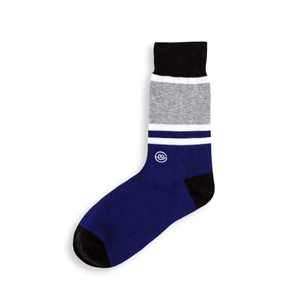 Crew Sock - Navy & Black W/ Stripes