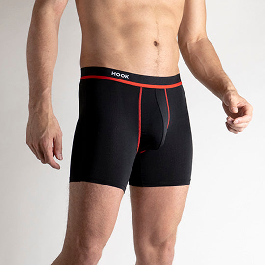 Feel Solid Black & Red Boxer Brief