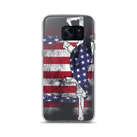 Samsung S7 and S8+ Case with American Flag and Rifle