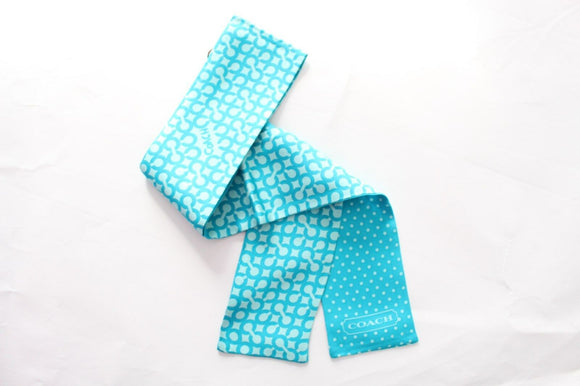 COACH 100% Silk Ponytail Scarf Optical C Polka Dots - Turquoise