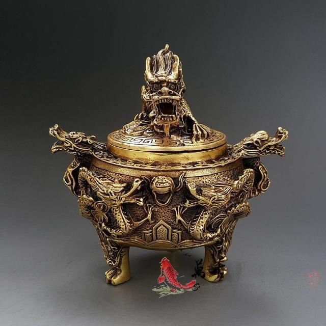 Old Brass Incense Burner - Seven Dragons With Beast - Evie.Shop