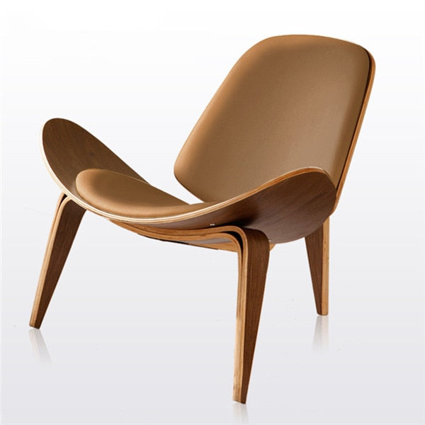 Hans Wegner Style Three-Legged Shell Chair With Faux Leather - Evie.Shop