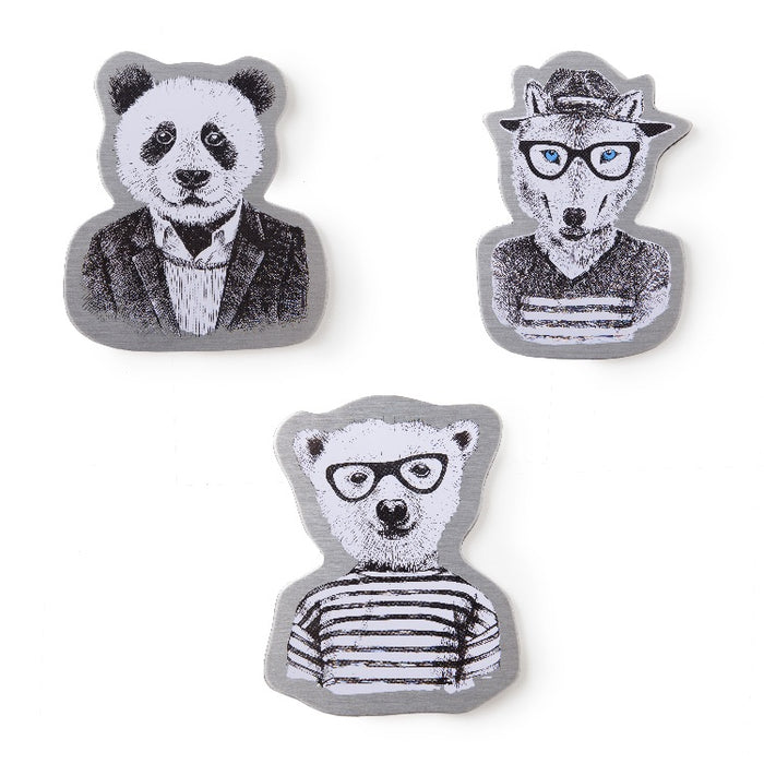 Magnets by Real Cool Vibe - Hipster Animals (Panda, Fox, Bear)