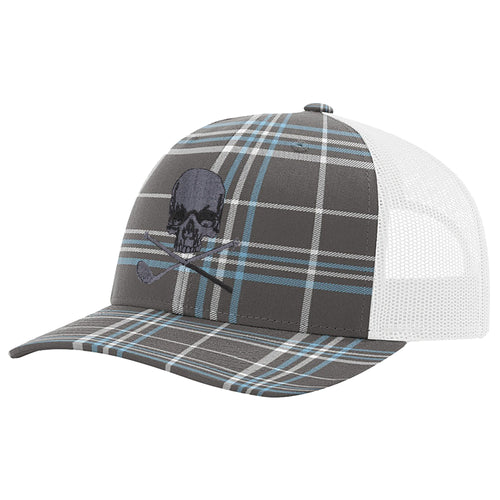 Skull & Broken 3 Wood Blue Tartan Trucker Snapback