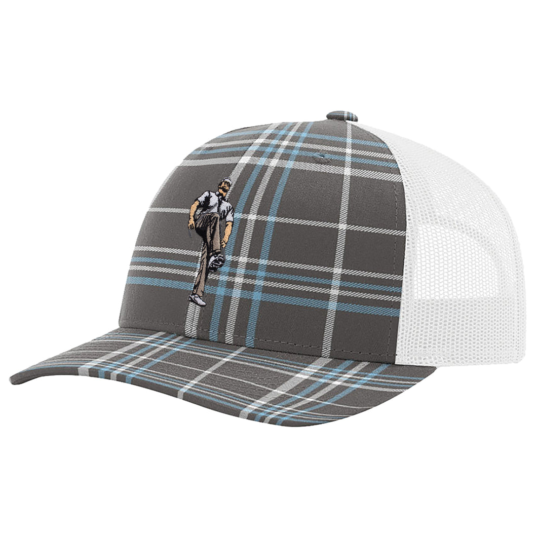 Broken 3 Wood Blue Tartan Trucker Snapback