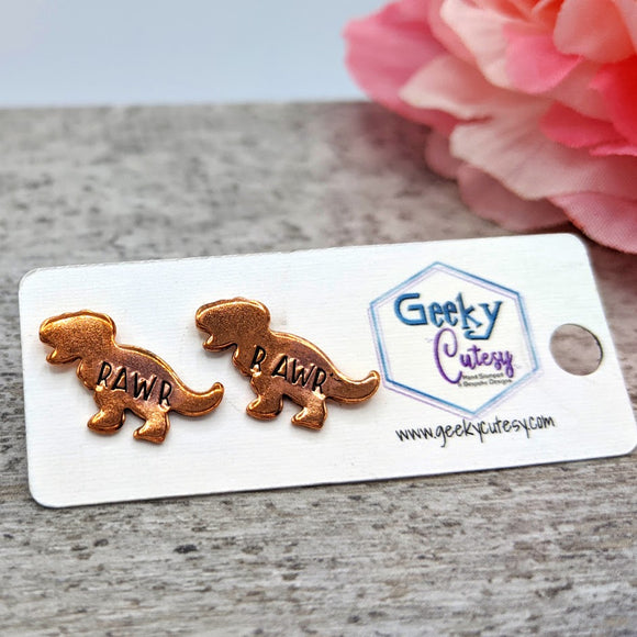 Rawr T-Rex Stud Earrings
