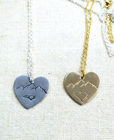 Mountain Home Heart Pendant Necklace