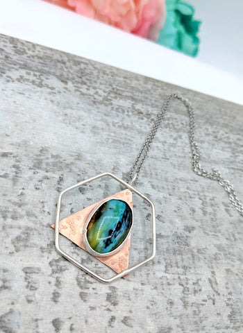 Geometric Opal Mixed Metal Pendant Necklace