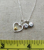 Silver Circle with Heart Pendant Love Necklace