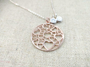 Rose Gold Heart Filigree Pendant Love Necklace